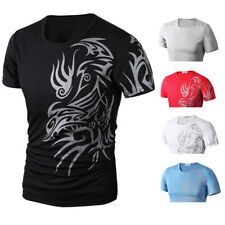 Mens Tee Shirt Slim Fit O Neck Short Sleeve Muscle Casual Tops T Shirts M-XXL