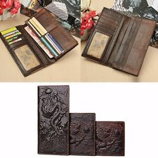 AU Men Genuine Leather Wallet Credit Card Holder Bifold Purse Clip Brown Dragon