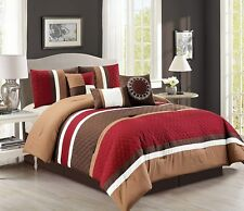 7-Pc Boston Quilted Stripes Pleated Bed-In-A-Bag Comforter Set Burgundy