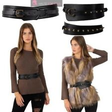NEW FAUX LEATHER STUDDED RETRO HIGH WAIST LADIES WIDE BELT WAISTBAND