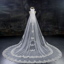 Two Tier Lace Edge Bridal Wedding Veils Ivory White 3 M Cathedral Long Veils