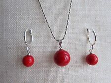 South Sea Shell Pearl Pendant & Matching Hoop Earrings - Set. Yellow Red