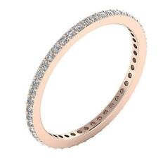 Round Diamond Stackable Eternity Wedding Ring 0.60Ct 14Kt White Yellow Rose Gold