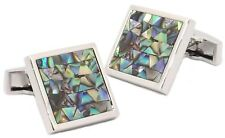 Multi Coloured Abalone Shell Mosaic Square Mens Cuff links by CUFFLINKS DIRECT