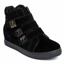 New Womens Ankle Boots Hidden Wedge Heel Trainers High Top Sneakers Velcro Shoes