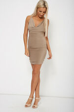 Silky Elegant Style Mocha Open Back Sexy Sleeveless Mini Cocktail Party Dress UK