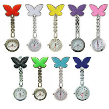 Clip-on Pendant Hanging Butterfly Nurse Fob Watch Brooch Tunic Watches Battery
