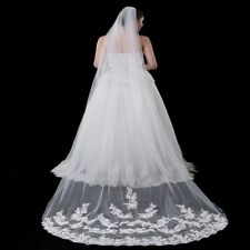 New 1 Layer White/ivory Cathedral Veil Lace Edge Bridal Wedding Veil With Comb