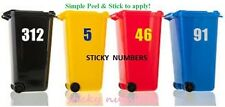 2 x Wheelie Bin Numbers Stickers Self Adhesive Stick On. Available -- , 6 inch,,