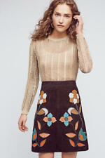 NEW Anthropologie Moulinette Soeurs Patchworked Suede Mini Skirt Size 8