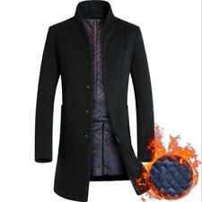 Mens Wool Trench Coat Slim Winter Warm Overcoat Stand Collar Business Outwear