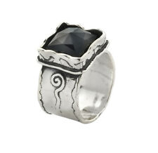 Amazing Black Onyx Fine 925 Sterling Silver Shablool Ring Statement For Women