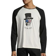 John Varvatos Star USA Men's Top Hat Skull Raglan Crew Graphic Tee $88 msrp NWT