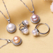 925 Sterling Silver Pearl Set - Earrings,Ring,And Pendant Necklace For Women