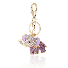 Lilac Crystal Lucky Elephant Key Ring or Bag Charm, Great Gift Idea!