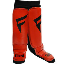 Forza MMA Leather Instep Shin Guards - Red/Black