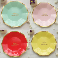8pcs Disposable Paper Plates New Cake Tableware Supplies Round Birthday Party