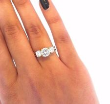 3 Stone Diamond Engagement Ring 14K Yellow Gold 2.0 ct Round Cut Solitaire Set