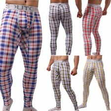 Plaid Pajamas Long Johns Sexy Pants Thermal Cotton Winter Comfort Stretchy