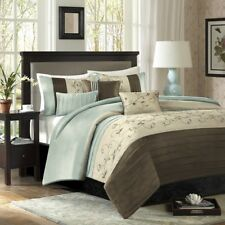 Posh Luxury 6pc Blue Brown Embroidered Duvet Cover Bedding Set AND Deco Pillows