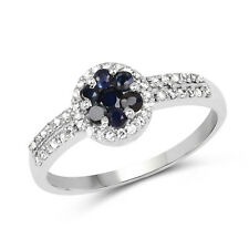 925 Sterling Silver Engagement Ring 0.72 ct Genuine Blue Sapphire & White Topaz