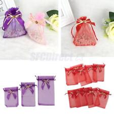 10pcs/Pack Drawstring Organza Bowknot Gift Pouch Jewelry Candy Bag Wedding Favor