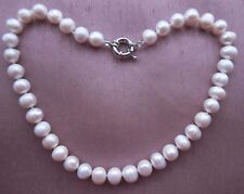 "Huge 11-12 mm AAA White Freshwater Cultured Pearl Necklace 17""-18""."