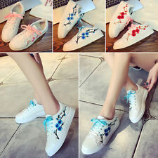 Women Casual Flower Embroidered Lace Up Sneakers Trainer Flat Shoes Comfy Hot