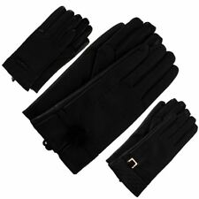 New Leather Look Real Fur Pom Pom Buckle Bow Ladies Winter Gloves