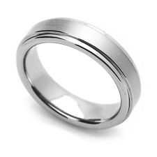 Men 5.5MM Comfort Fit Tungsten Carbide Wedding Band Brushed Grooved Edges Ring