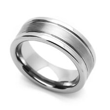 8MM Comfort Fit Tungsten Carbide Wedding Band Two Grooved Edges Brushed Ring