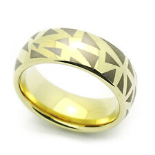 Men 8MM Comfort Fit Tungsten Carbide Wedding Band Zirconium Plated Domed Ring