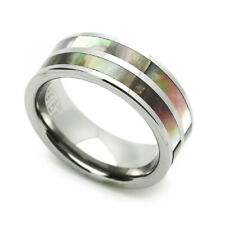8MM Comfort Fit Tungsten Carbide Wedding Band Inlaid Ring