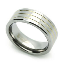 8MM Comfort Fit Tungsten Carbide Wedding Band Grooved Ring