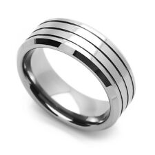 8MM Comfort Fit Tungsten Carbide Wedding Band Grooved Center Beveled Edges Ring