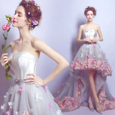 Charming Lace 3D Flowers Beautiful Beadworks High-low Style Boned Wedding Dress