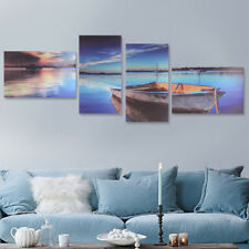 4Pcs Framed Modern Lake Boat Canvas Print Art Painting Wall Picture Home Decor