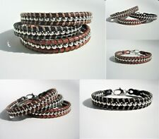 bracelet leather stainless steel beads lobster clasp handmade