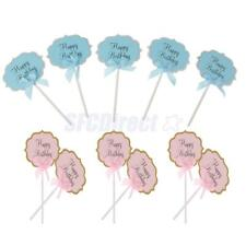 10x Happy Birthday Cupcake Picks Cake Toppers Baby Shower Decoration