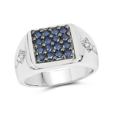 0.84 Ct Genuine Blue Sapphire & Diamond Cluster Ring in 925 Sterling Silver Band