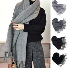 Women Ladies Winter Warm Pashmina Tassel Cashmere Solid Long Shawl Wrap Scarf