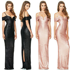 Sexy Womens Sequins Evening Bridesmaid Party Cocktail Prom Ball Gown Long Dress