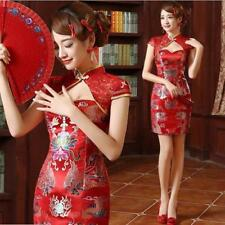 Women's Slim QiPao Cheongsam Bride Wedding Dress Evening Mini Tee Dress Size Red