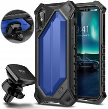 iPhone X Case Cover Hard Pc Soft Tpu Shockproof Magnetic Car Mount Dark Blue New