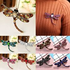 Chic Dragonfly Animal Crystal Pin Brooch Chain Pendant Necklace Women Jewelry