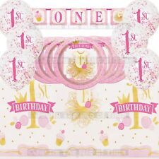 1st Birthday Girls Pink Party Supplies Plates Cups Tableware Decoration Kit 8-40
