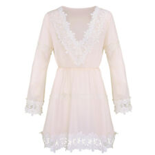 US Womens Long Sleeve Lace Floral V Neck Evening Party Cocktail Short Mini Dress
