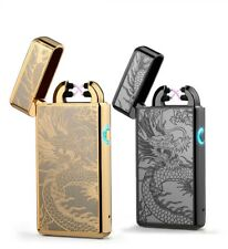 Cigarette Lighter USB Pulse Cigar Noble Thin LED Smoke Cross Double Arc Gift Box