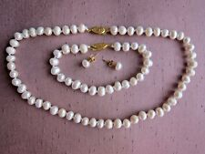 "Cultured Pearl Necklace + Bracelet + Earrings Sets 7/8mm; from 16"" - 18"" long."