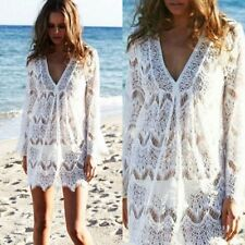 Sexy Women V-Neck Loose Bikini Cover Smock Hollow Out Tops Sunscreen Shirts GC